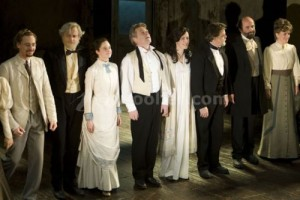 Tom Hiddleston (Lvov), Johnathan Battersby (Gavrila), Andrea Riseborough (Sasha), Kenneth Branagh (Ivanov), Gina McKee (Anna Petrovna), Kevin R McNally (Lebedev), Lorcan Cranitch (Borkin) and Sylvestra Le Touzel (Zinaida) during the curtain call on Press Night for Ivanov at Wyndham's Theatre, London, England on 17th September 2008. (Credit should read: Dan Wooller/wooller.com). Paid use only. No Syndication